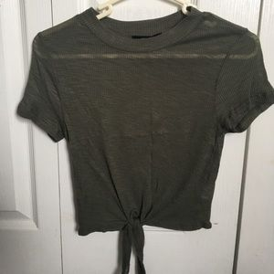 Army green cropped top with knot in front